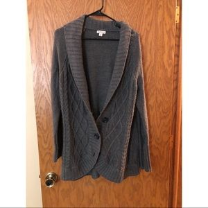 Gray long cardigan with buttons